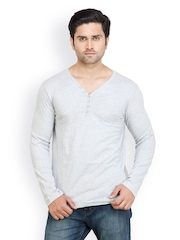 Pique Republic Men Grey Henley T-shirt