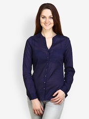 Pique Republic Women Navy Blue Shirt