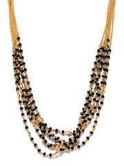 Pitaraa Gold Toned & Black Necklace