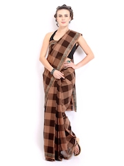 Platinum Brown Checked Cotton Traditional Saree