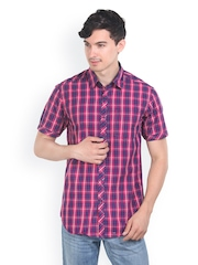 Platinum League Men Pink & Blue Checked Slim Fit Casual Shirt