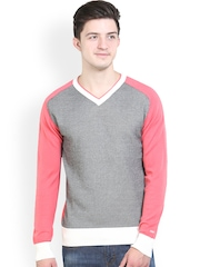 Platinum League Men Pink & Grey Sweater