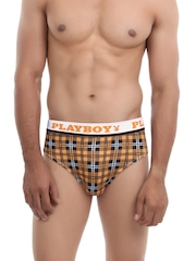 Playboy Men Brown & Charcoal Grey Checkmate Briefs UCD 22