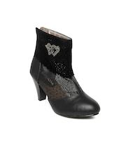 Portia Women Black Heeled Boots