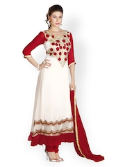 Prafful Cream-Coloured & Red Unstitched Dress Material