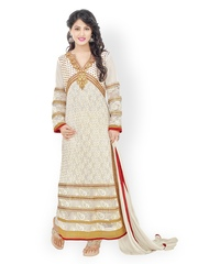 Prafful Cream-Coloured Faux Georgette & Net Unstitched Dress Material
