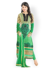 Prafful Green Faux Georgette & Net Unstitched Dress Material