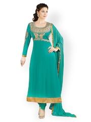 Prafful Teal Green Unstitched Dress Material