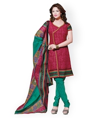 Prafful Maroon & Green Printed Unstitched Dress Material