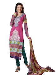 Prafful Pink & Green Cotton Semi-Stitched Dress Material