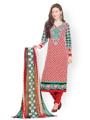 Prafful Red & Green Embroidered Unstitched Dress Material