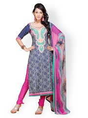 Prafful Blue & Pink Printed Crepe Unstitched Dress Material