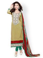 Prafful Yellow & Green Printed Cotton Unstitched Dress Material