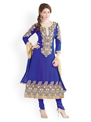 Prafful Blue Embroidered Faux Georgette Unstitched Dress Material