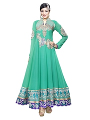 Prafful Green Embroidered Georgette Unstitched Dress Material