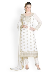Prafful White Embroidered Faux Georgette Unstitched Dress Material