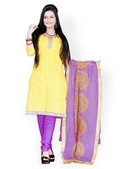 Prafful Yellow & Purple Striped Cotton Unstitched Dress Material