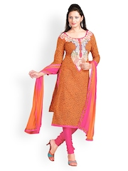 Prafful Orange Embroidered Unstitched Dress Material