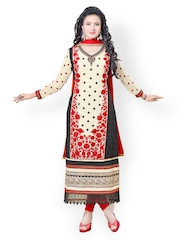 Prafful Cream-Coloured & Red Embroidered Faux Georgette Unstitched Dress Material