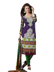 Prafful Purple & Green Cotton Semi-Stitched Dress Material