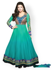 Prafful Green Embroidered Unstitched Dress Material