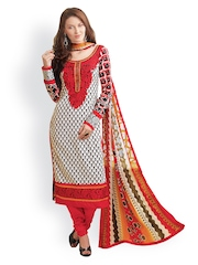 Prafful White & Red Embroidered Unstitched Dress Material
