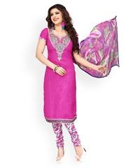Prafful Magenta Printed Unstitched Dress Material