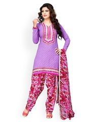 Prafful Purple & Pink Printed Unstitched Dress Material