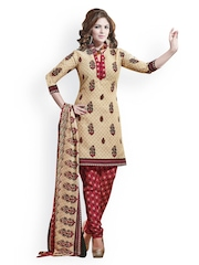 Prafful Cream-Coloured & Maroon Printed Unstitched Dress Material