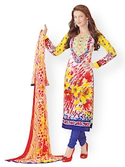 Prafful Multi-Coloured Embroidered Unstitched Dress Material