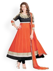 Prafful Orange & Black Faux Georgette Unstitched Dress Material