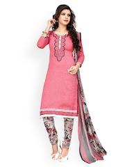 Prafful Pink Printed Unstitched Dress Material