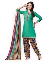 Prafful Green Printed Crepe Unstitched Dress Material