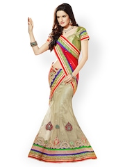 Red & Cream-Coloured Embroidered Net Unstitched Lehenga Saree Prafful