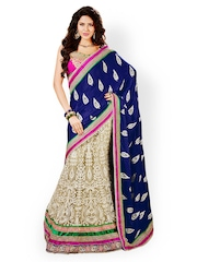 Prafful Blue & Beige Embroidered Shantoon Partywear Saree
