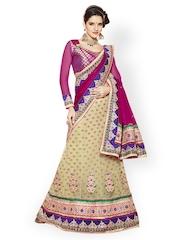 Magenta & Cream-Coloured Embroidered Net Unstitched Lehenga Saree Prafful