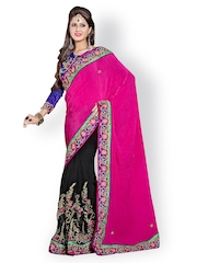 Prafful Pink & Black Embroidered Georgette Fashion Saree