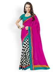 Prafful Magenta Printed Raw Silk Fashion Saree