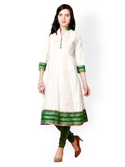 Prakhya Women White & Green Printed Anarkali Kurta