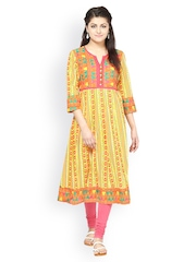 Prakhya Women Yellow & Red Printed Anarkali Kurta