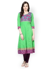 Prakhya Women Green Embroidered Anarkali Kurta