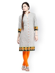 Prakhya Women Grey Printed Kurta