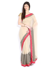 Prathana Beige Georgette Fashion Saree