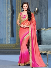 Prelika Pink Georgette Partywear Saree