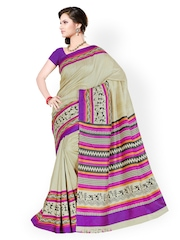 Purple & Beige Printed Raw Silk Fashion Saree Prelika