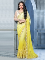 Prelika Yellow Embroidered Georgette Partywear Saree
