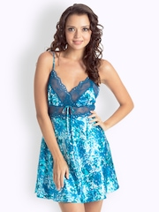 Pretty Secrets Turquoise Blue Printed Nightdress