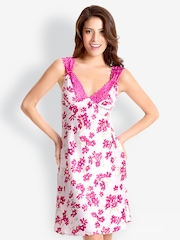 Pretty Secrets Fuschia Lace-Trim Short Nightdress