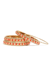 Pretty Women Set of 7 Gold Toned & Orange Bangles