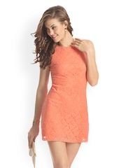 PrettySecrets Orange Lace Shift Dress
